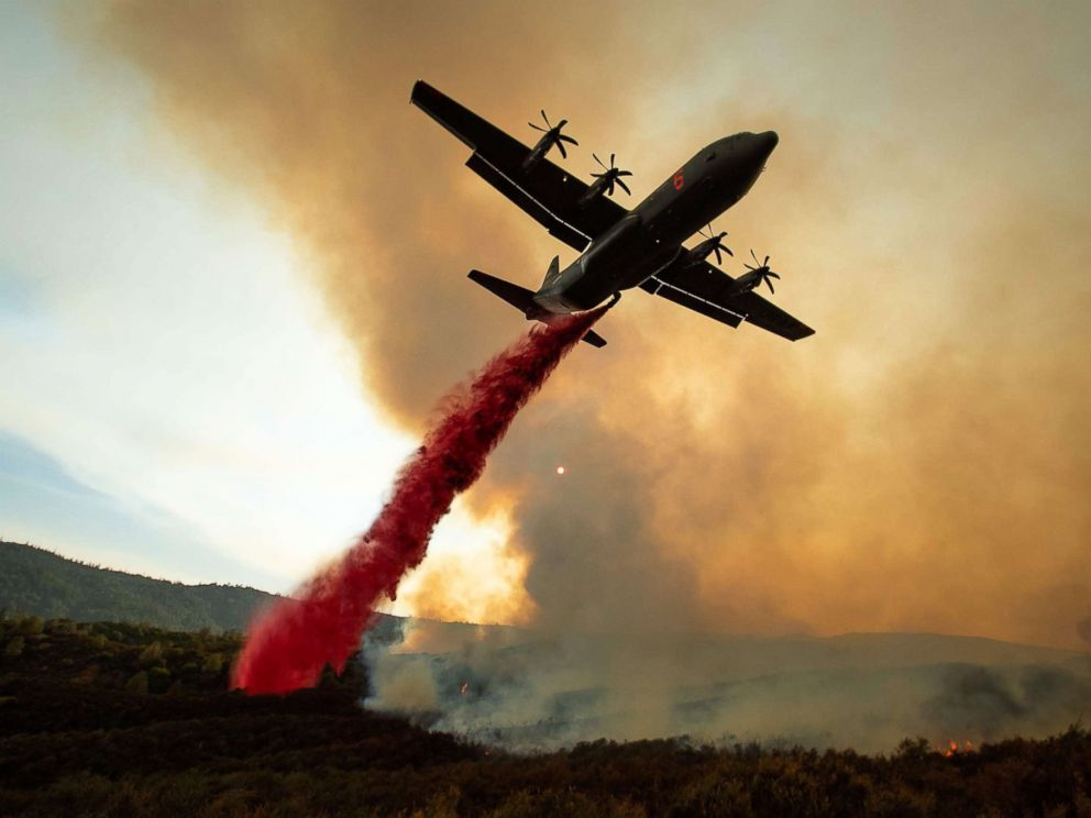 PHOTO: An air tanker drops retardant on the Ranch Fire, part of the Mendocino Complex Fire, burning along High Valley Rd near Clearlake Oaks, California, Aug. 5, 2018.