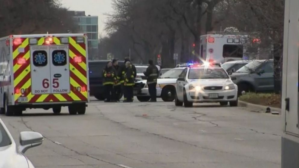 A Chicago police officer and several other people were wounded after a shooting attack at Mercy Hospital in Chicago, Nov. 19, 2018.