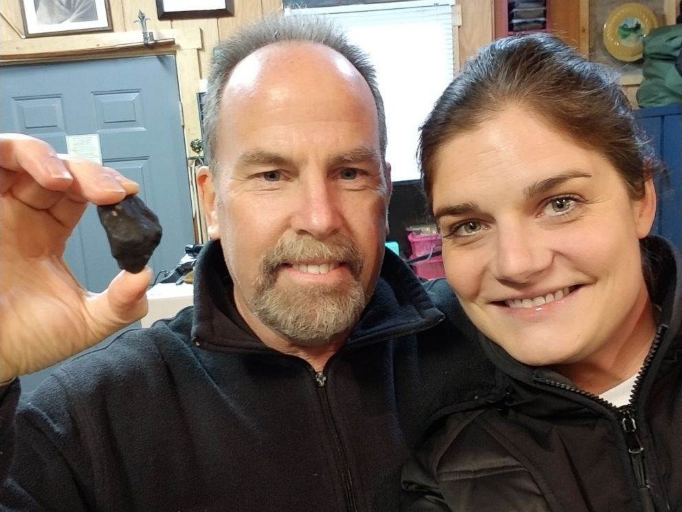 PHOTO: Ashley Moritz and her boyfriend found a piece of the meteor that struck Michigan in Jan. 2018.