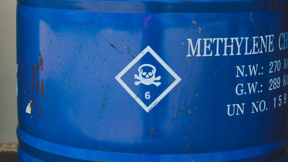 A blue barrel of methylene chloride is pictured in an undated stock photo.