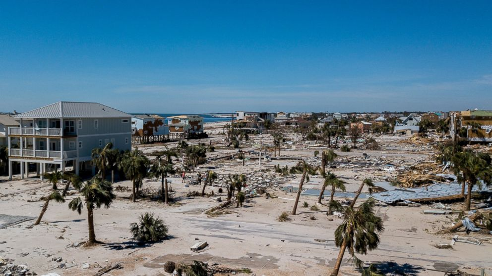 This aerial photo shows debris and destruction in Mexico Beach, Fla., Friday, Oct. 12, 2018, after Hurricane Michael went through the area on Wednesday.