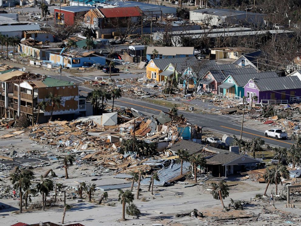 PHOTO: In this Oct. 12, 2018, file photo, debris from homes destroyed by Hurricane Michael litters the ground in Mexico Beach, Fla.