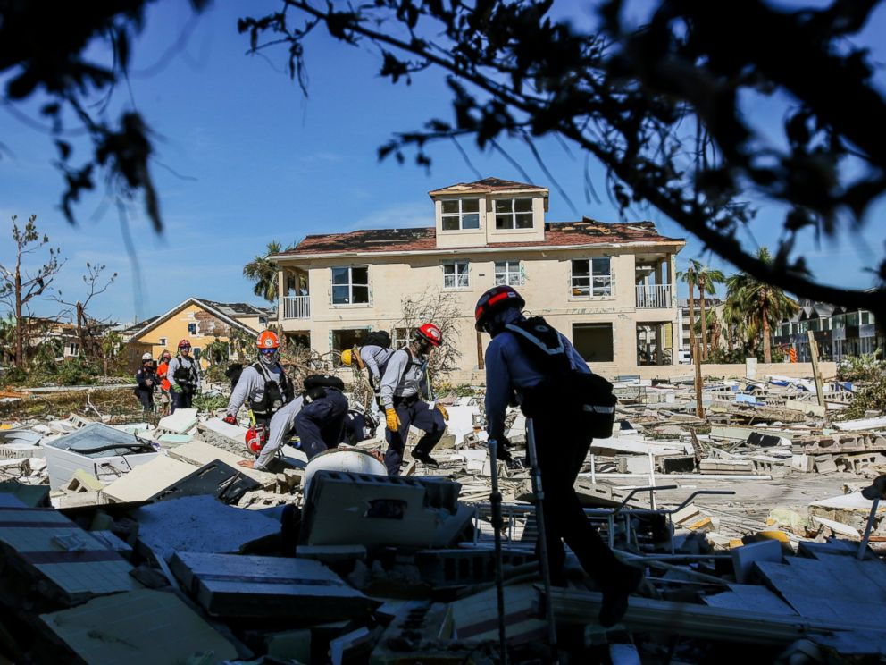 PHOTO: Members from South Florida Task Force search a flattened home destroyed by Hurricane Michael in Mexico Beach, Fla., Friday, Oct. 12, 2018, after Hurricane Michael went through the area on Wednesday.