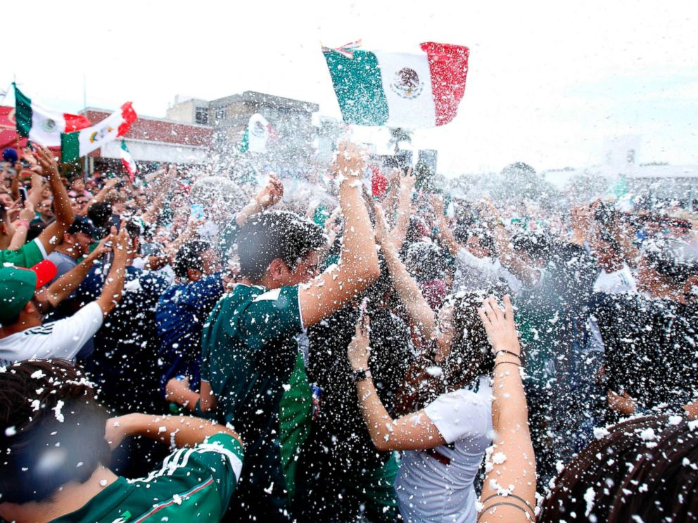 PHOTO: Mexican fans gather to celebrate Mexicos victory against Germany during the 2018 World Cup in Guadalajara, Mexico, June 17, 2018.