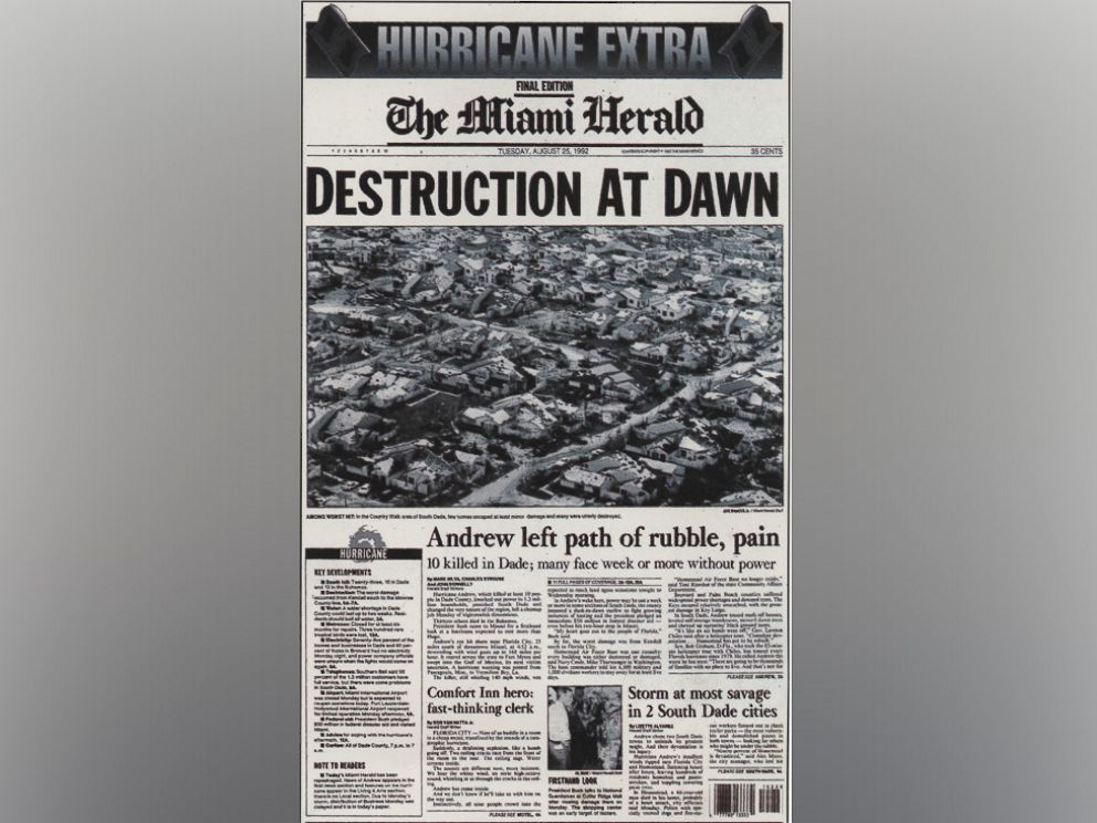 PHOTO: Cover page of the SPECIAL HURRICANE edition of The Miami Herald issue published, Aug. 24, 1992 in Miami.