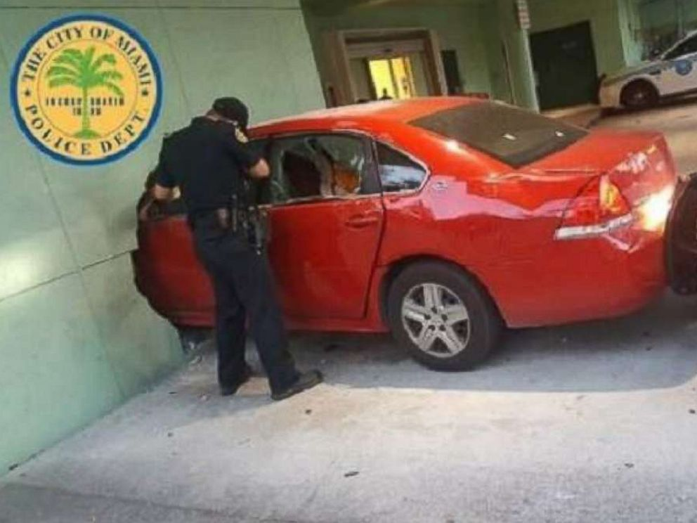 Driver may have intentionally crashed car into Miami police substation: Cops