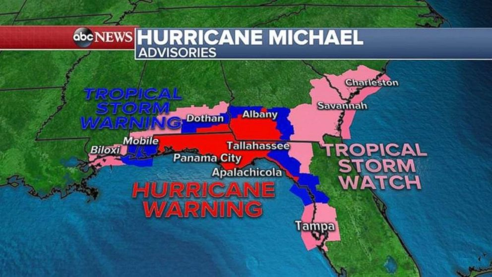 PHOTO: A hurricane warning and tropical storm warnings are in place along the Florida and Alabama coasts.