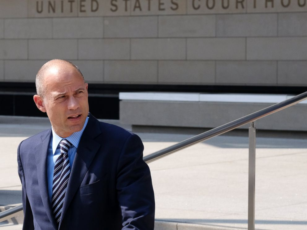 Michael Avenatti, the attorney for porn actress Stormy Daniels walks out of the U.S. Federal Courthouse prior to a news conference in Los Angeles on Friday, July 27,2018.