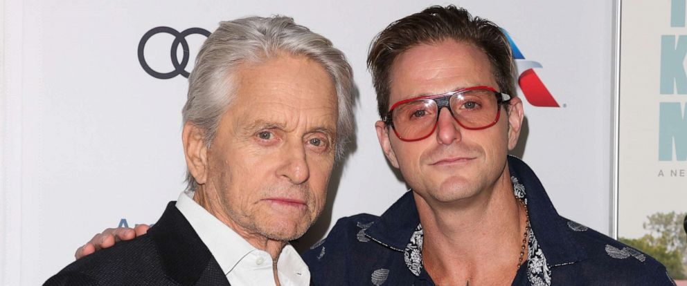 """PHOTO: Michael Douglas (L) and Cameron Douglas (R) attend the 2018 AFI FEST world premiere screening of """"The Kominsky Method"""" on November 10, 2018, in Hollywood."""