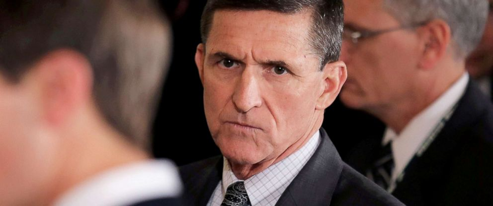 PHOTO: Michael Flynn arrives prior to a joint news conference, Feb. 13, 2017.