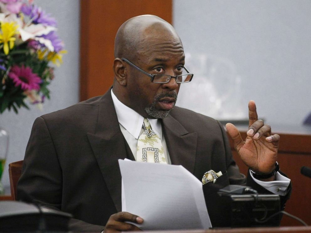 PHOTO: Prosecution witness Michael McClinton testifies during the O.J. Simpsons trial at the Clark County Regional Justice Center, Sept. 29, 2008, in Las Vegas, Nevada.