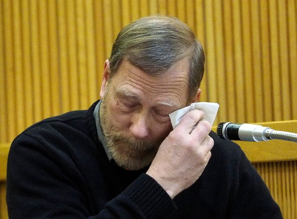 Michael Stern, the father of victim Sarah Stern, wipes tears from his eyes as he testifies for the prosecution during the trial of Liam McAtasney at the Monmouth County courthouse in Freehold, N.J., Feb. 5, 2019.