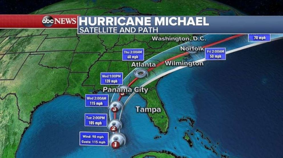 PHOTO: Michael will move quickly through the Southeast by the end of the week.
