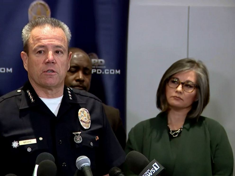 PHOTO: Michel Moore, Chief of police of the Los Angeles Police Department speaks at a press conference, April 2, 2019.