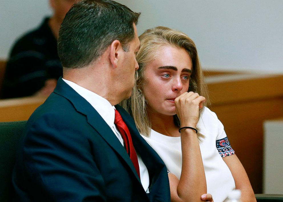 PHOTO: In this Aug. 3, 2017 file photo, Michelle Carter awaits her sentencing in a courtroom in Taunton, Mass., for involuntary manslaughter for encouraging Conrad Roy III to kill himself in July 2014.