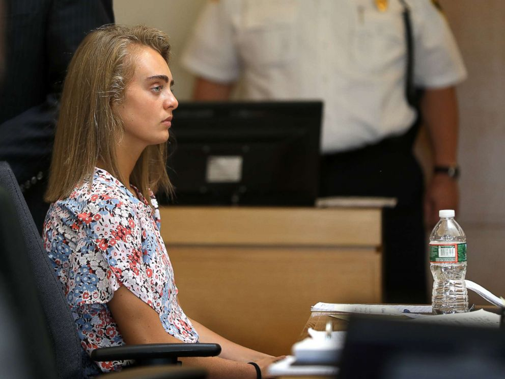 PHOTO: Michelle Carter, seated, as defense witness Dr. Peter Breggin is being crossed by ADA Katie Rayburn in Bristol Juvenile Court in Taunton, Mass., Jun. 13, 2017.