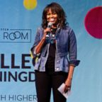 Michelle Obama speaks at College Signing Day, an event honoring Philadelphia students for their pursuit of a college education or career in the military, on May 2, 2018, at Temple University in Philadelphia.