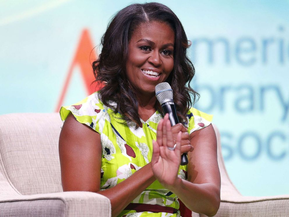 PHOTO: Former first lady Michelle Obama discusses her forthcoming memoir titled, Becoming, during the 2018 American Library Association Annual Conference, June 22, 2018, in New Orleans.