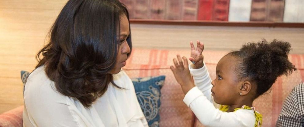 """PHOTO: Michelle Obama met with Parker Curry, the little girl whose reaction to Obama's official portrait has gone viral. On Instagram Obama wrote, """"Keep on dreaming big for yourself...and maybe one day Ill proudly look up at a portrait of you!"""""""