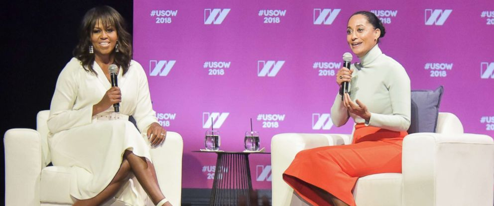 PHOTO: Former first lady Michelle Obama (L) and actress Tracee Ellis Ross have a conversation on stage at The United State of Women Summit 2018 in Los Angeles, May 5, 2018.