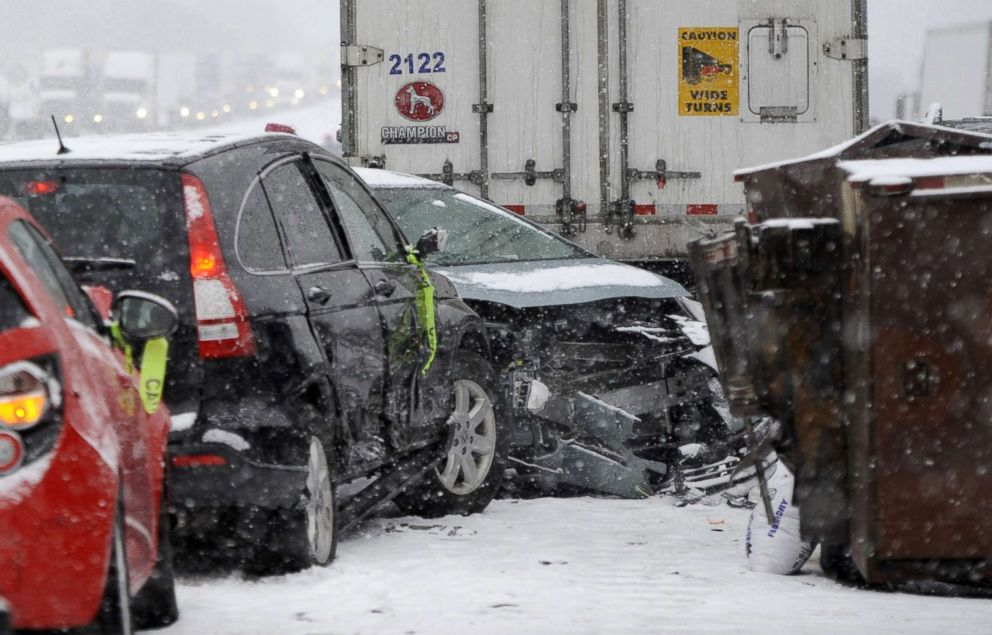 PHOTO: Cars remain at the scene of a multi-vehicle pileup on Interstate 94 in southern Michigan, March 9, 2018.