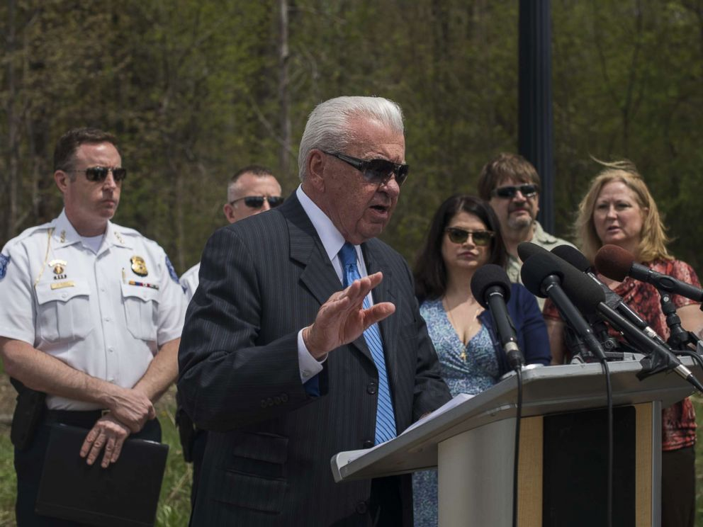 PHOTO: William Dwyer, the Commissioner of the Warren Police, discusses the progress of a reopened cold case during a press conference on May 9, 2018 in Macomb, Mich.