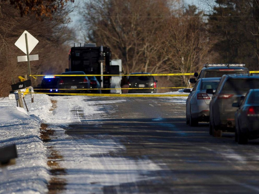 PHOTO: Kent County Sheriff personnel investigate the scene of a fatal shooting near Cedar Springs, Mich., Feb. 18, 2019.
