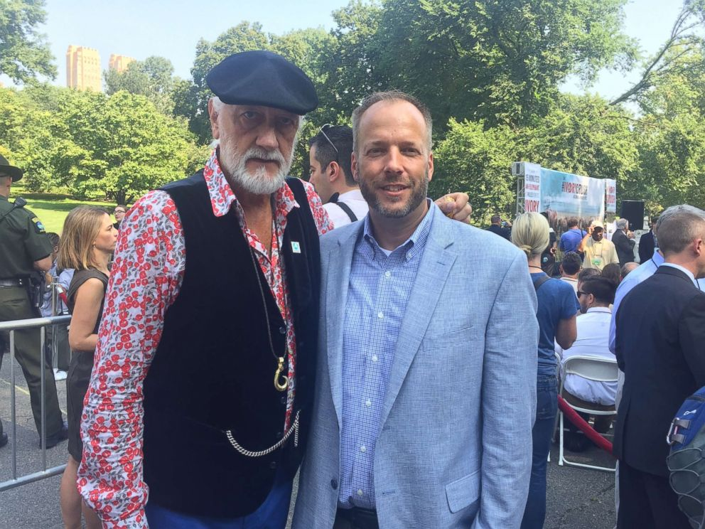 PHOTO: IFAW ambassador Mick Fleetwood and IFAW North American Regional Director Jeffery Flocken at the Ivory Crush in Central Park, Aug. 3, 2017 in New York.