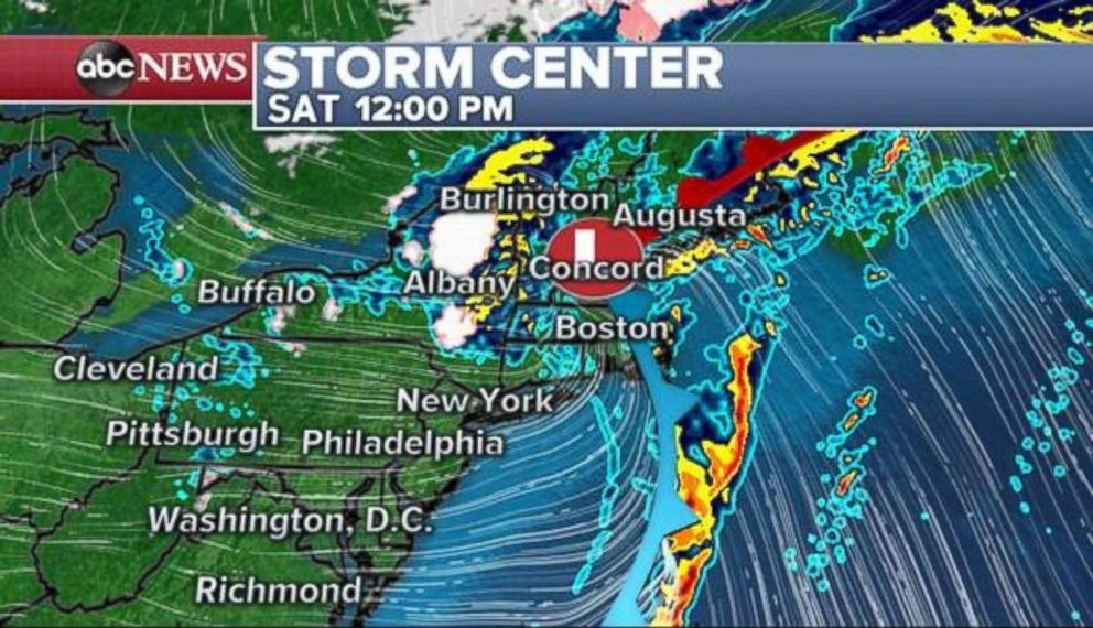 PHOTO: The storm will move out of the tri-state area midday Saturday, but continue to deliver rain and even snow to New England.