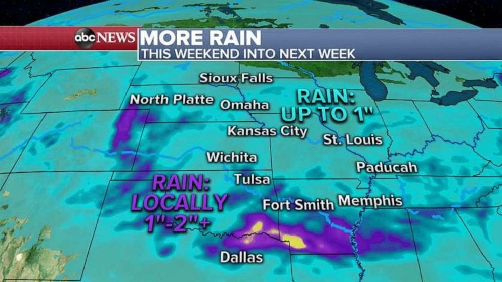 More rain is on the way for the Plains this weekend, though it should stay below the worst flooding.