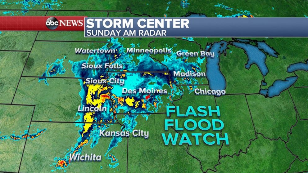 Strong storms are moving into the Midwest on Sunday.