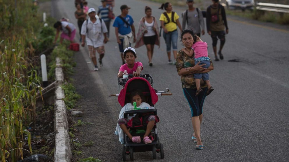 Central American migrants traveling with a caravan to the U.S. make their way to Pijijiapan, Mexico, Oct. 25, 2018.