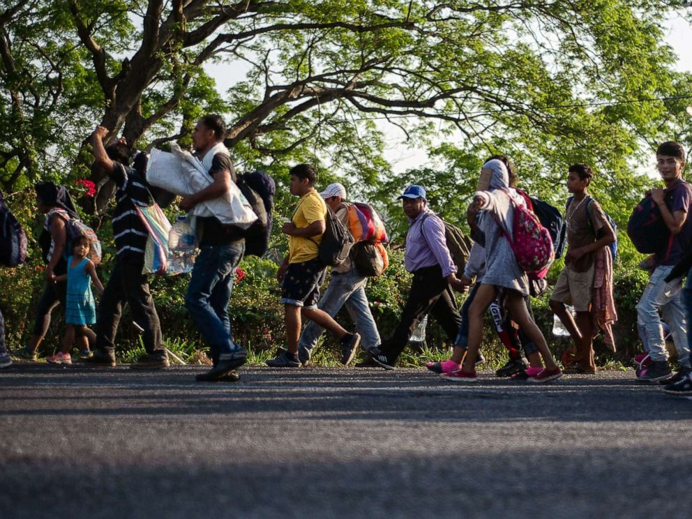 PHOTO: Central American migrants heading in a caravan to the U.S. walk towards Huixtla, on Tapachula, State of Chiapas, Mexico, on April 15, 2019.