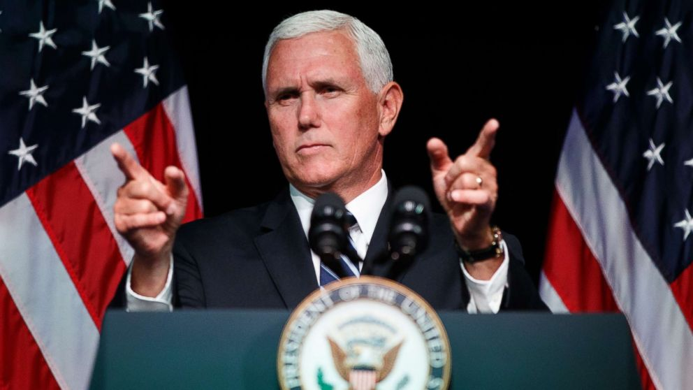 Vice President Mike Pence gestures during an event on the creation of a U.S. Space Force, Aug. 9, 2018, at the Pentagon.