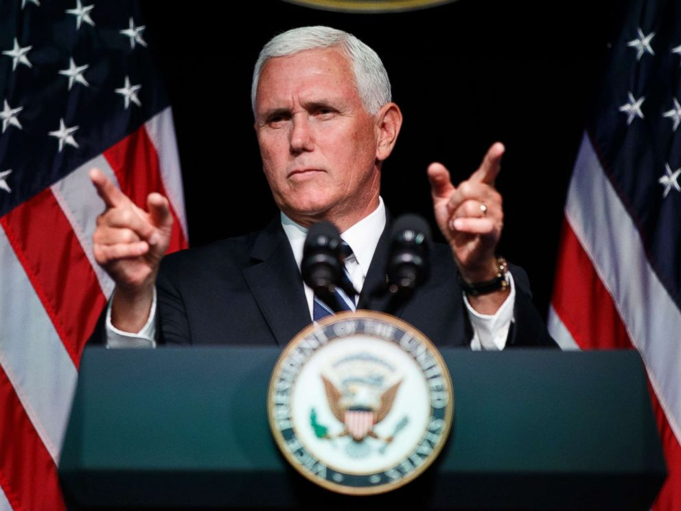 PHOTO: Vice President Mike Pence gestures during an event on the creation of a U.S. Space Force, Aug. 9, 2018, at the Pentagon.