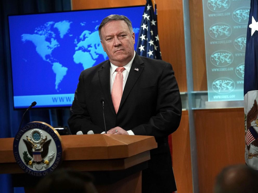 PHOTO: Secretary of State Mike Pompeo speaks to members of the media in the briefing room of the State Department, Oct. 23, 2018, in Washington, DC.