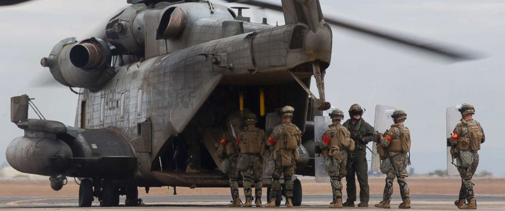 PHOTO: U.S. Marines with 1st Law Enforcement Battalion, Special Purpose Marine Air-Ground Task Force 7, board a CH-53E Super Stallion at Naval Air Facility El Centro, Dec. 6, 2018