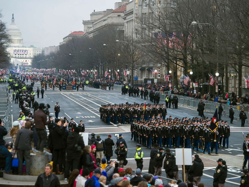 PHOTO: Military units participate in the inaugural parade from the Capitol to the White House in Washington, D.C., Jan. 20, 2017.