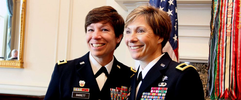 PHOTO: Maj. Gen. Maria Barrett poses with Brig. Gen. Paula Lodi during then Col. Lodis promotion ceremony at the Army Navy Country Club in Arlington, Va., July 12, 2019.