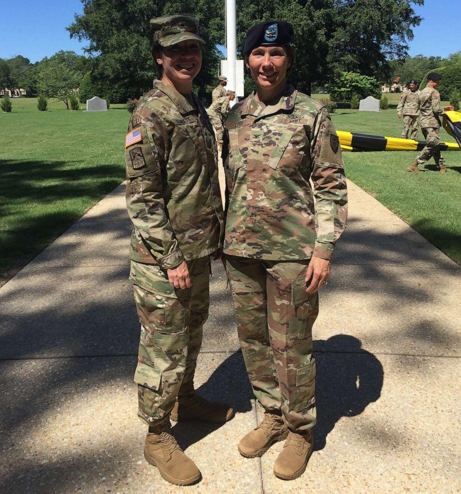 Maj. Gen. Maria Barrett and younger sister Brig. Gen. Paula Lodi. (Credit: U.S. Army)