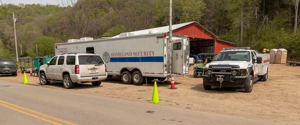 PHOTO: Rescuers worked on April 16, 2019 to rescue a member of a small group of divers from the U.K. who had been exploring the Mill Pond Cave in Tennessee.