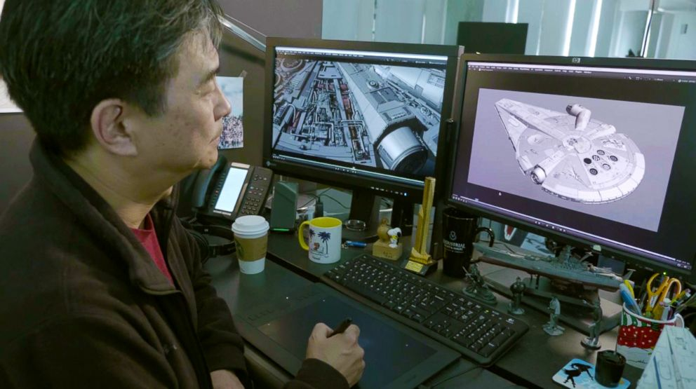 PHOTO: An image released by Lucasfilm shows Lead Modeler Masa Narita working on the famed Millenium Falcon for the latest story in the franchise, Solo: A Star Wars Story.