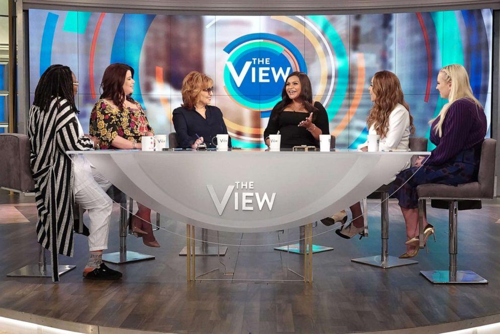PHOTO: Mindy Kaling joins The View co-hosts Whoopi Goldberg, Ana Navarro, Joy Behar, Sunny Hostin, and Mindy Kaling on Friday, June 7, 2019.