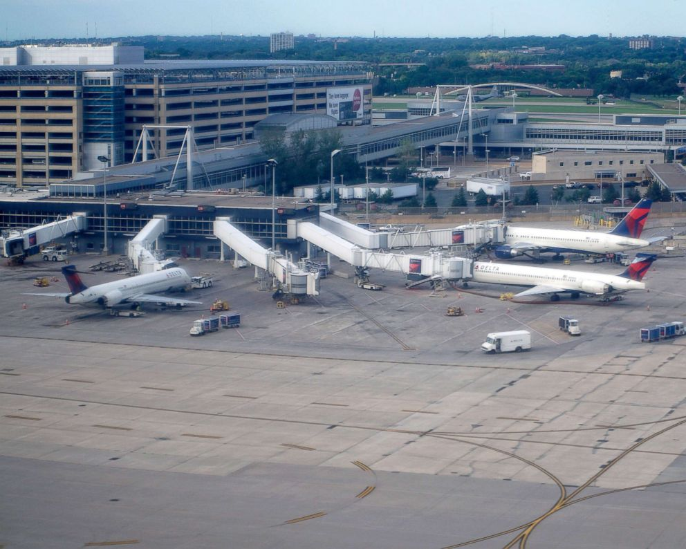PHOTO: Terminal One and the Delta Airlines gates are seen from the air over the Minneapolis/St. Paul International Airport in Bloomington, Minn.