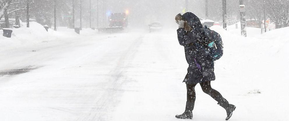 PHOTO: A Minnesota State University student walks to campus, Feb. 7, 2019, in Mankato, Minn.