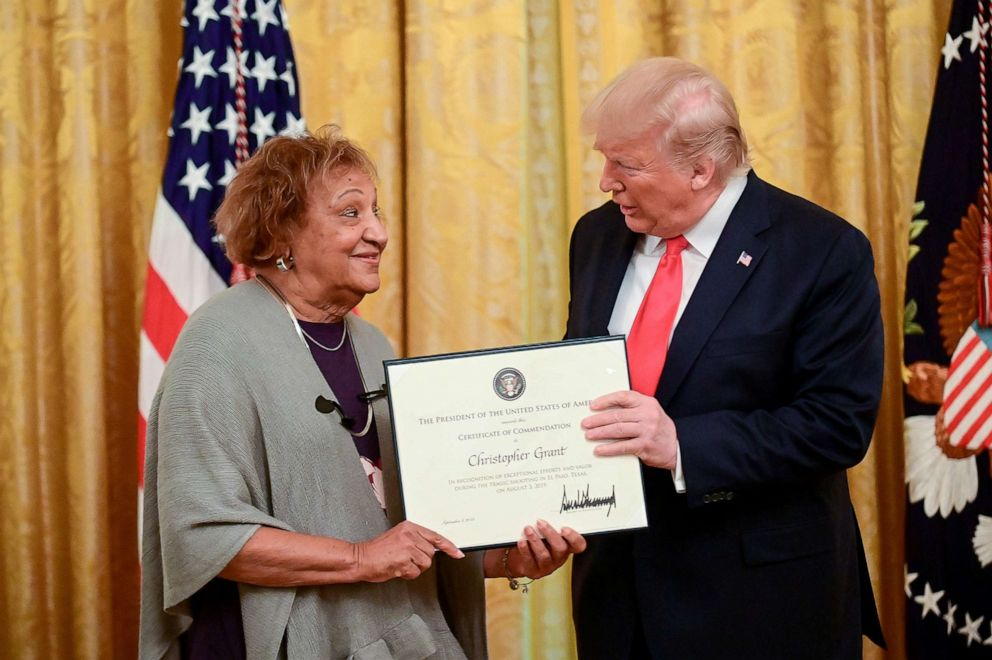 PHOTO: President Donald Trump presents heroic commendations to Minnie Grant, a civilian whose son Christopher Grant says he responded to the mass shooting in El Paso, Texas, during a ceremony in White House in Washington, Sept. 9, 2019.