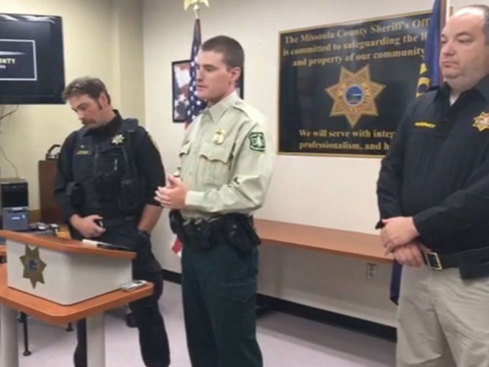 PHOTO: Missoula County Deputy Ross Jessop and U.S. Forest Service Officer Nick Scholz described how they found the miracle baby buried under a pile of sticks in the woods.