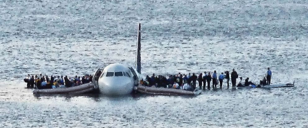PHOTO: In this Jan. 15, 2009 file photo, airline passengers wait to be rescued on the wings of a US Airways Airbus 320 jetliner that safely ditched in the frigid waters of the Hudson River in New York, after a flock of birds knocked out both its engines.