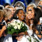 Nia Franklin, center, reacts after being named Miss America 2019, Sunday, Sept. 9, 2018, in Atlantic City, N.J.
