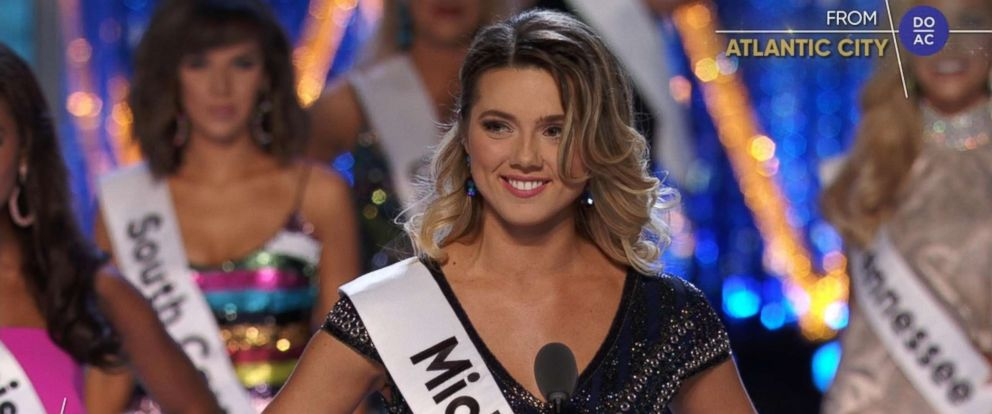 PHOTO: Miss Michigan 2018, Emily Sioma, speaks during the Miss America pageant, Sept. 9, 2018.